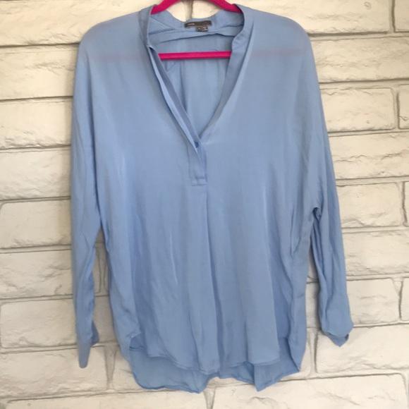 573813b26ef17b serenity blue silk v neck blouse by vince